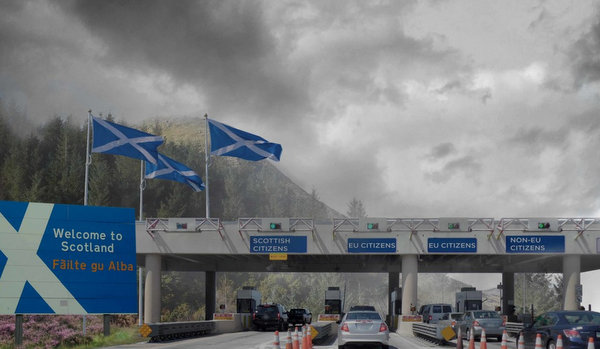 Artist's impression of independent Scotland border crossing.