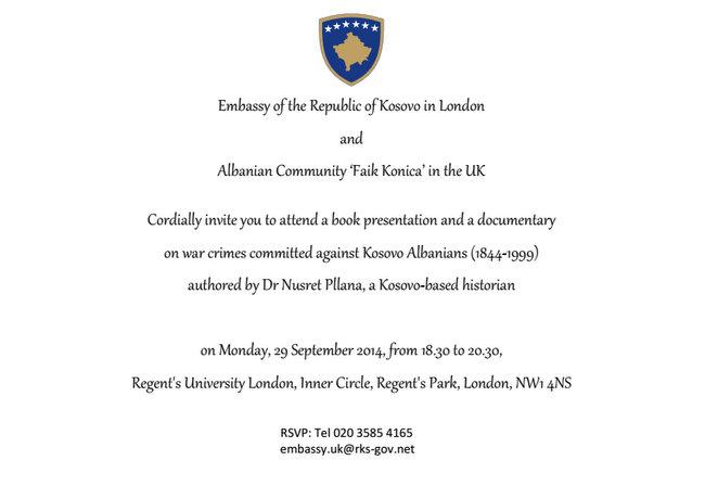 Promovim libri në Londër për krimet serbe ndaj shqiptarëve, 29 shtator 2014