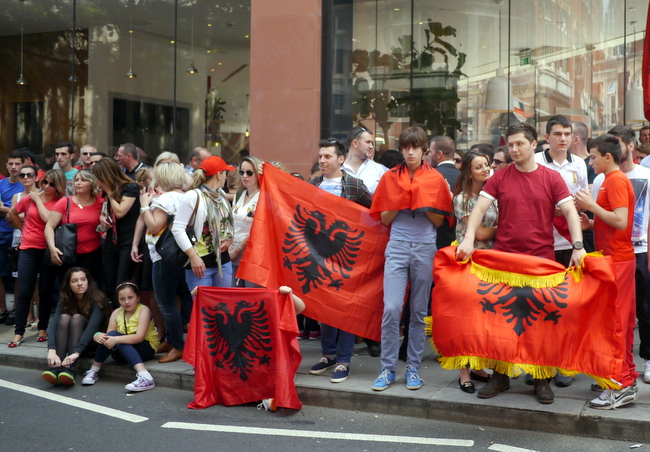 Archive photos: British Albanians protesting in London.