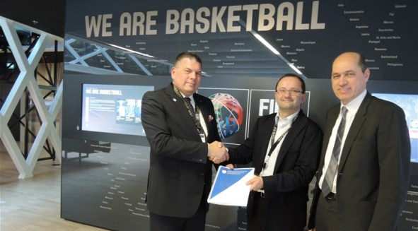 From left to right: Erolld Belegu, President of the Kosovo Basketball Federation; Patrick Baumann, FIBA Secretary General and Member of the International Olympic Committee (IOC); Turgay Demirel, FIBA Europe President.