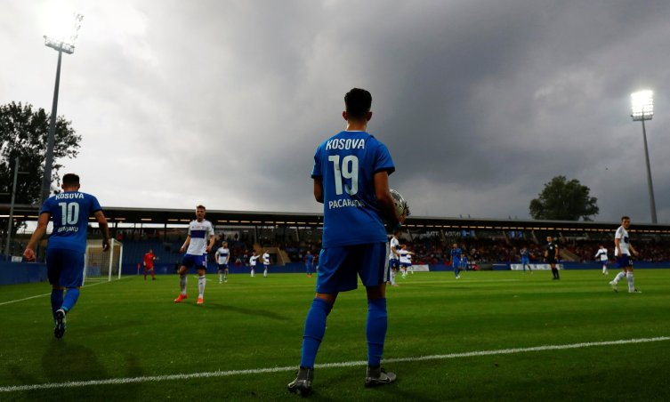 Kosovo's first official international, against the Faroe Islands in June, but it's still unclear which players are eligible to turn out for them in the World Cup qualifiers. Photograph: Kai Pfaffenbach/Reuters