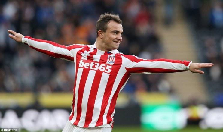 Stoke City left Humberside with all three points courtesy of Swiss-Albanian attacker Xherdan Shaqiri who scored a brace