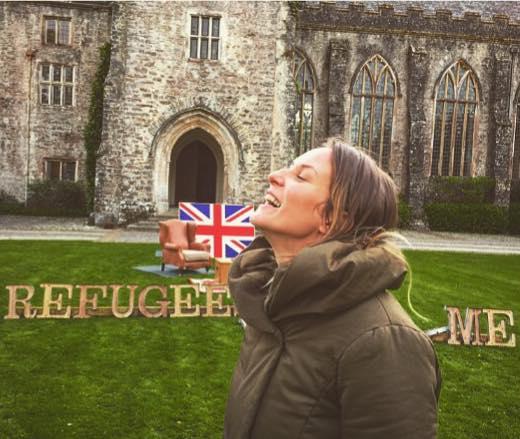 Alketa Xhafa with  Refugees Welcome in Dartington