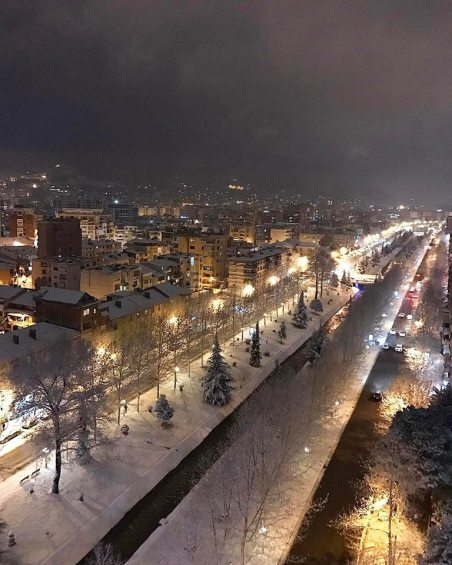 Tirana covered with snow - January 2017