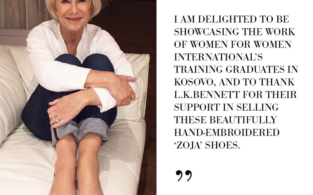 Dame Helen Mirren showcases Kosovo hand-embroidered 'Zoja' flat shoes