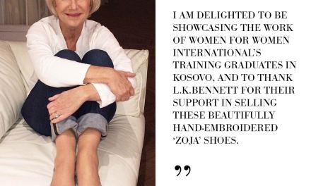 Dame Helen Mirren showcases Kosovo hand-embroidered 'Zoja' flat shoes