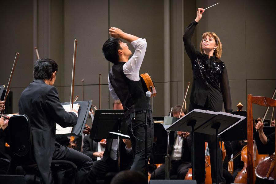 Jake Shimabukuro performing with the Hawaii Symphony Orchestra