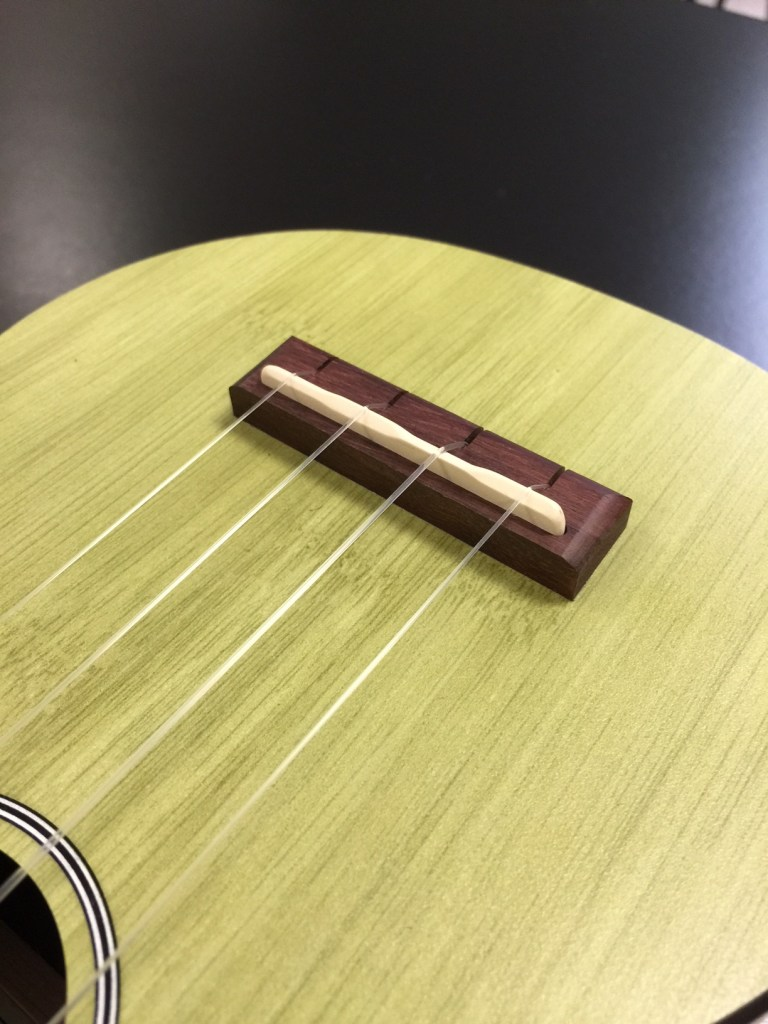 The rosewood bridge has a compensated Tusq saddle, which gave us excellent intonation along the fingerboard.