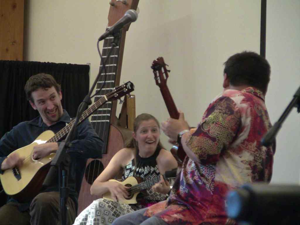 Milo Fultz, Sarah Maisel, and Craig Chee in concert