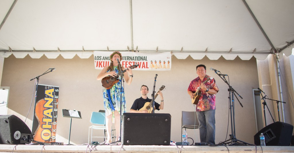 Performing with Sarah and Milo Fultz on bass.