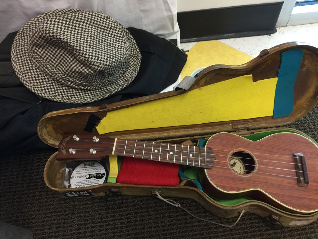 Azo Bell carries his soprano ukulele around in a sturdy and very lightweight case, he built using skills learned from repairing boats.