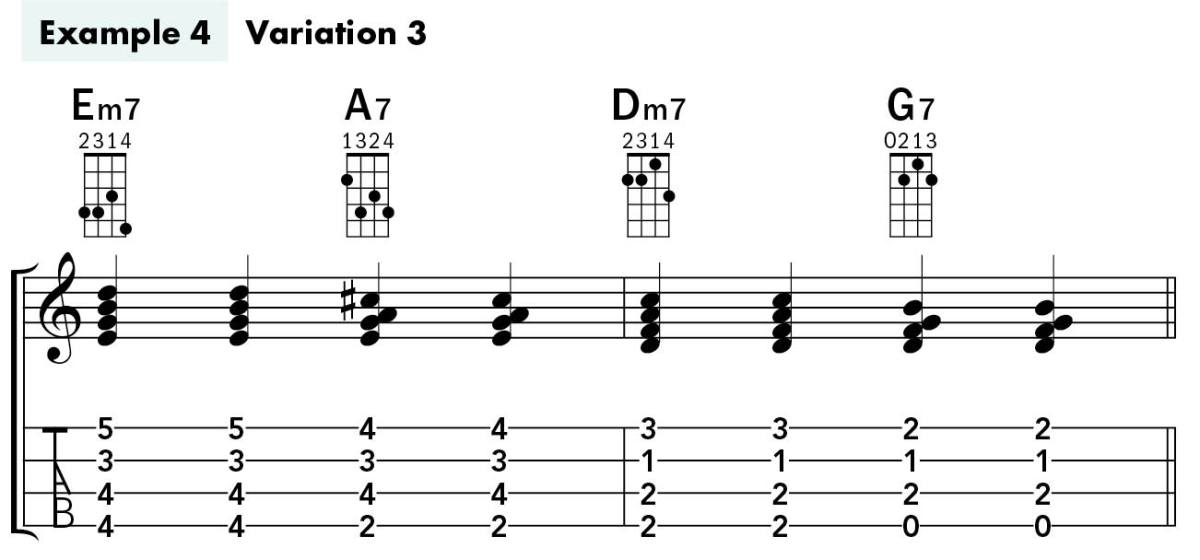 Uke Chord Substitutions lesson example 4