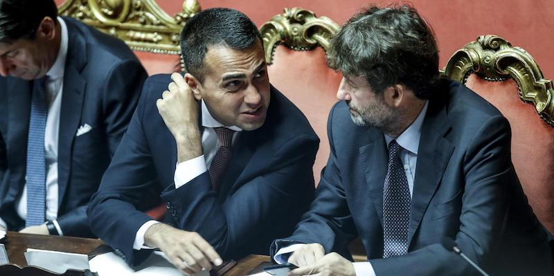 Il ministro degli Esteri Luigi Di Maio (s) e il ministro dei Beni Culturali Dario Franceschini in Senato durante voto sulla fiducia al Governo, Roma 10 settembre 2019. ANSA/GIUSEPPE LAMI