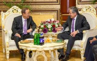 Secretary-General Ban Ki-moon meets with Foreign Minister Sirodjidin Aslov of Tajikistan in Dushanbe. UN Photo/Rick Bajornas