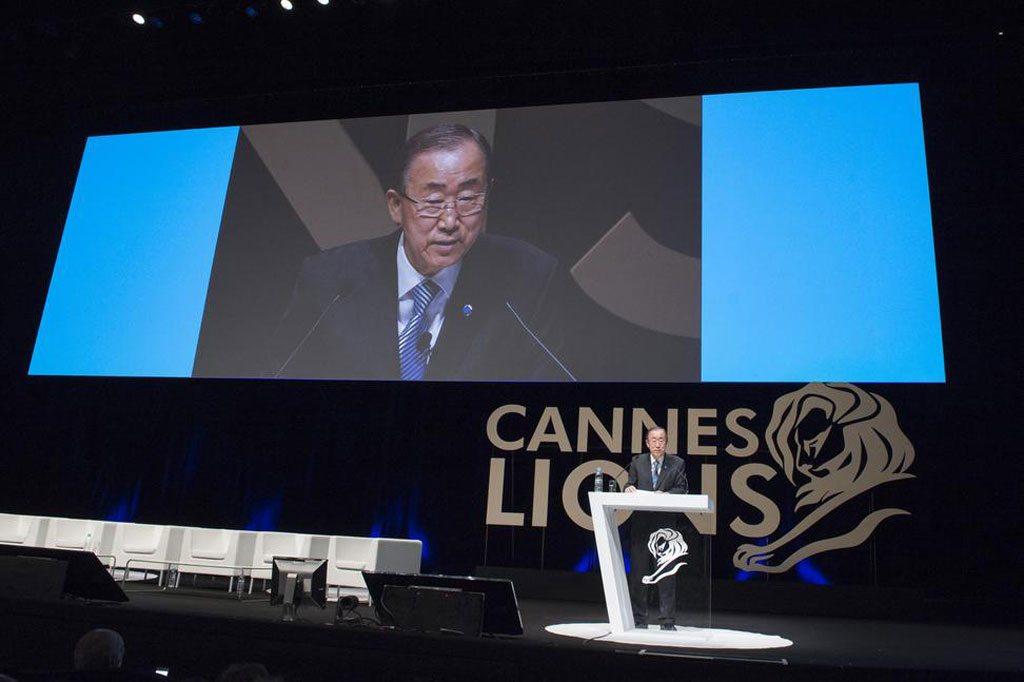 "Photo: Secretary-General Ban Ki-moon delivers keynote address at ""The Cannes Debate"" at Palais des Festivals, France. UN Photo/Eskinder Debebe"
