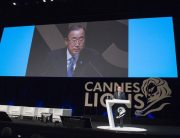 "Photo: Secretary-General Ban Ki-moon delivers keynote address at ""The Cannes Debate"" at Palais des Festivals, France. UN Photo/Eskinder Debebe"