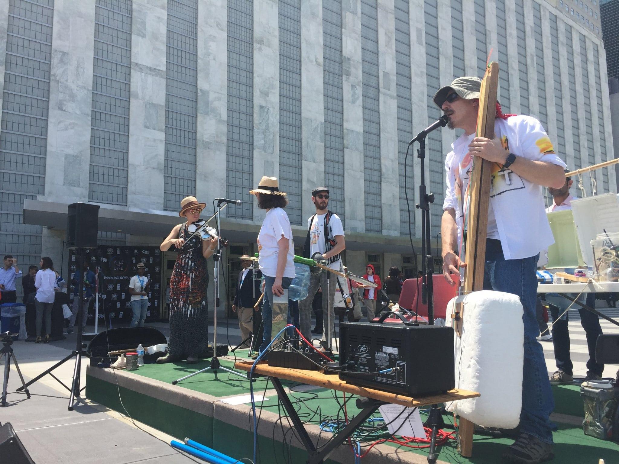 Photo: Bash the Trash, a band that builds its own instruments out of garbage, performs in the UN Visitors' Plaza.