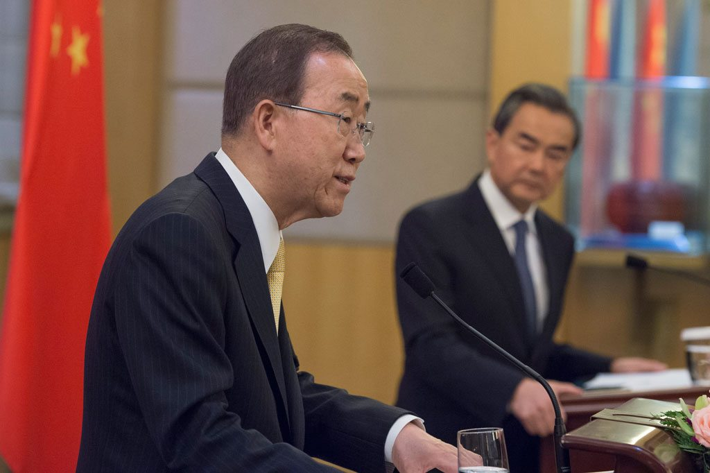 Photo: Secretary-General Ban Ki-moon (left) addresses a joint press conference with Wang Yi, Minister for Foreign Affairs of the People's Republic of China. UN Photo/Eskinder Debebe