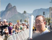Photo: Secretary-General Ban Ki-moon takes part in the Olympic torch relay ahead of the opening ceremony of the 2016 Summer Olympic Games in Rio de Janeiro, Brazil.