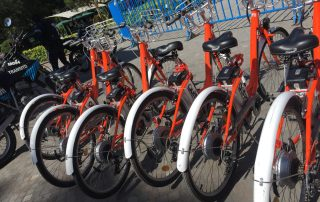 Photo: Bicycles lined up for a Quito bike share programme.