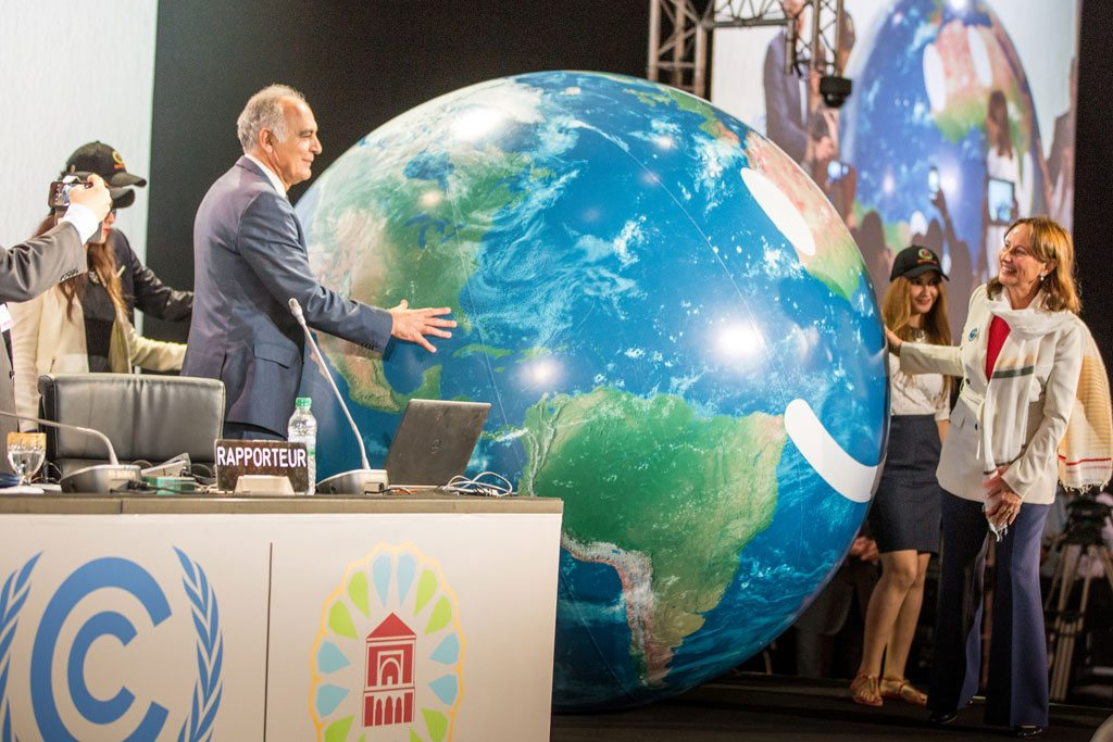 COP22 President and Morocco's Foreign Minister Salaheddine Mezouar (left) with COP 21 President and France's environment Minister in charge of climate-related international relations Ségolène Royal at the opening of COP 22 in Marrakesh, Morocco. Photo: UNFCCC