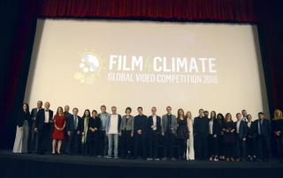Photo: Film4Climate contest winners gather onstage at a ceremony at COP22.