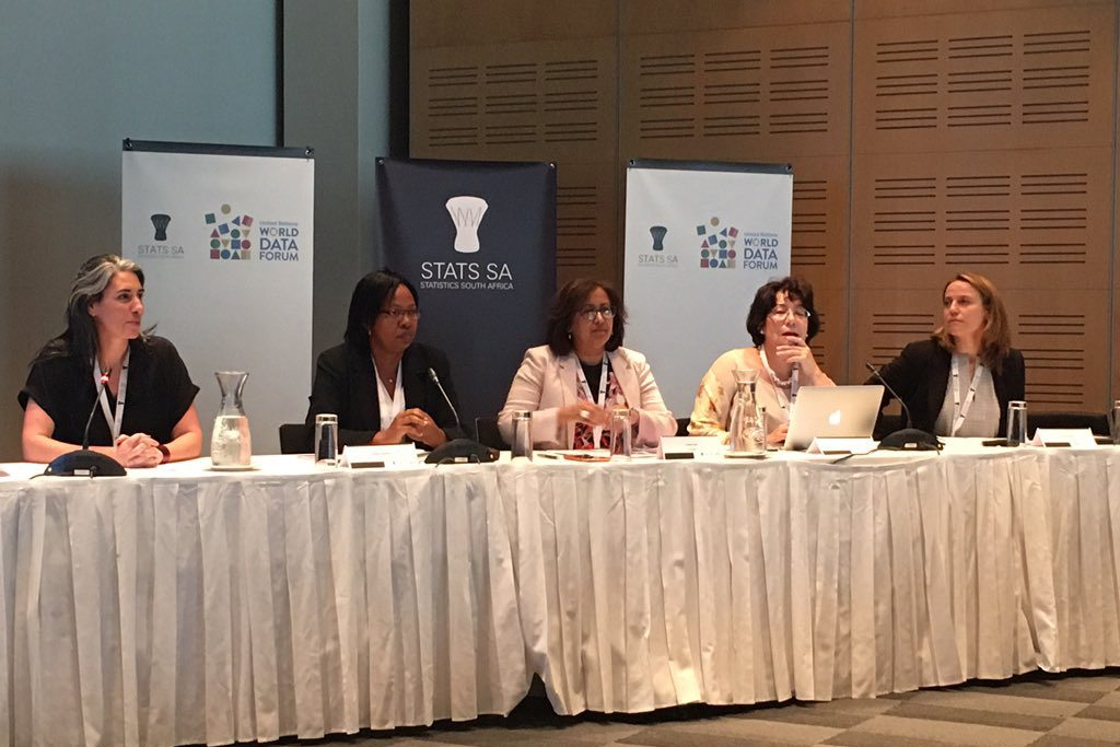 """Purna Sen, the Director of Policy Division at UN Women, center, addresses a panel discussion, titled """"Gender Data for Decision-making: Strengthening the Links,"""" at the UN World Data Forum on 17 January 2017. Photo: Nina Rabinovitch Blecker of Data2X/UN Foundation"""