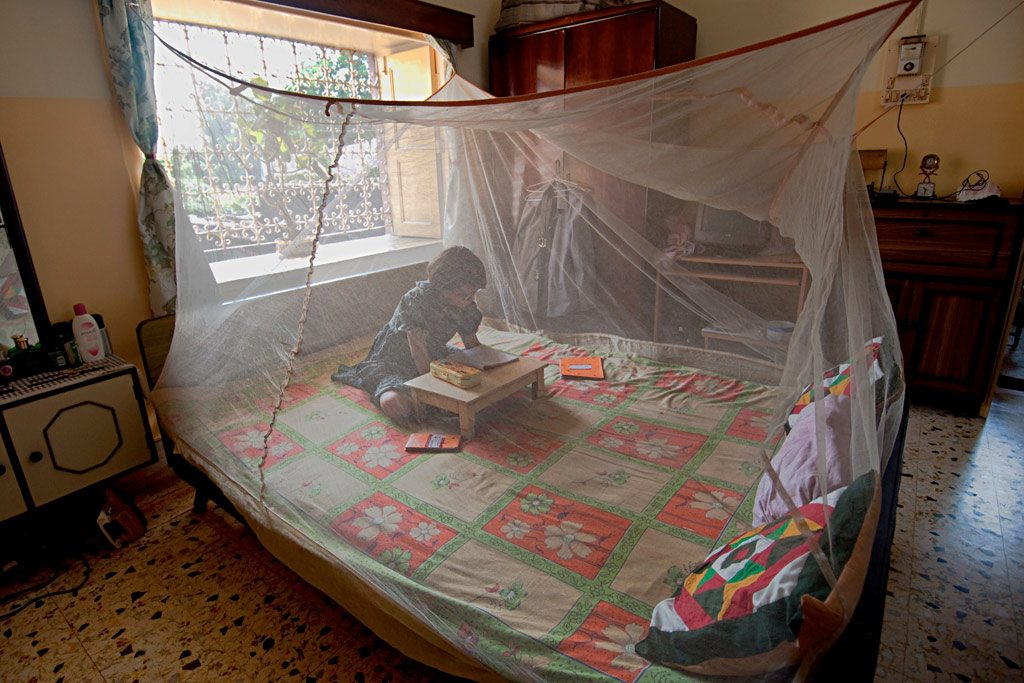 A young girl reads inside a mosquito net in West Bengal, India. Photo: Joydeep Mukherjee