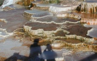 Mammoth Hot Springs, in Yellowstone National Park, host thermophilic bacteria which colour the travertine terraces (Wyoming, USA - 2007). UN Photo/EFP