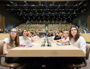 Some of the young students attending the conference on 'Financing the Future: Education 2030' listen to speakers at the event. UN Photo/Rick Bajornas