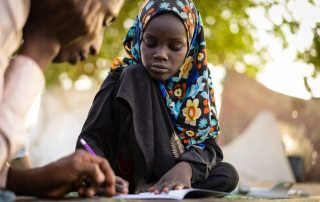This 11-year-old girl lost her left leg in a suicide attack in an internal displaced persons (IDP) site in the Lake Chad Region. After three months in a hospital, she is trying to start over. UNICEF/Bahaji