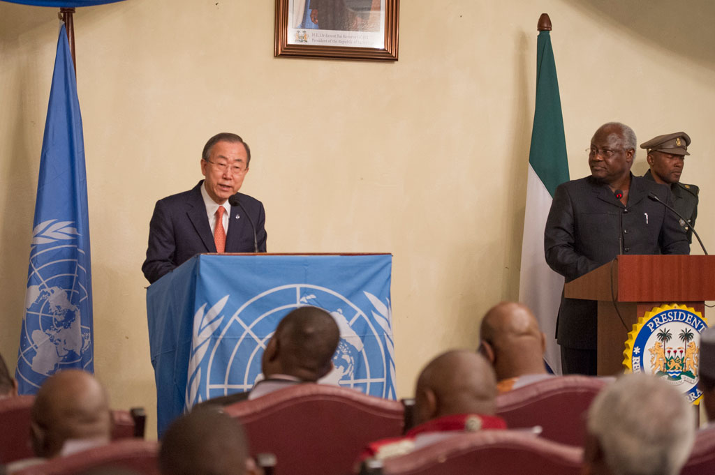 Secretary-General Ban Ki-moon (left) addresses a joint press conference with President Ernest Bai Koroma of Sierra Leone. UN Photo/Eskinder Debebe