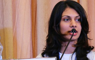 "Anoka Abeyrante, a young environmentalist and lawyer, speaks about transforming Sri Lanka's ecology during the launch of ""Generation Youth."" Photo credit: UNFPA"