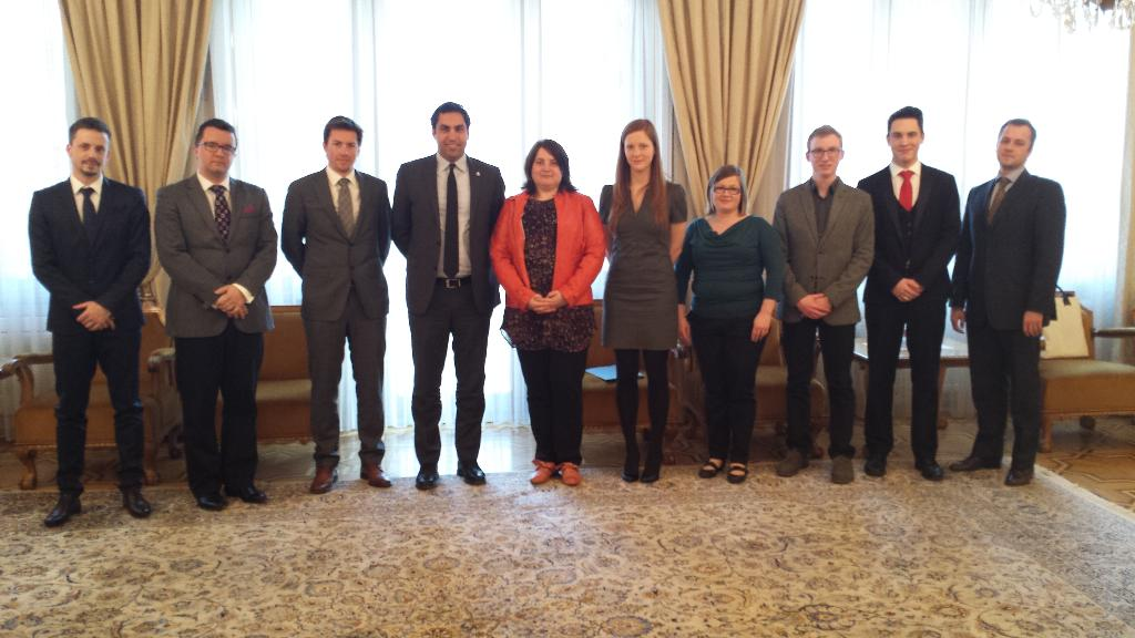 The Envoy with youth representatives of Slovenia.