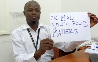 Young Malian man spotlights need to enhance policies for youth as part of campaign ahead of United Nations-backed Youth Policy Forum in Baku, Azerbaijan, 28-30 October. Photo: Youth Policy Forum