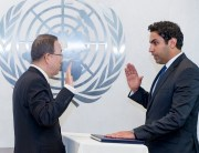 Swearing-in-Ceremony:  The Secretary-General and Mr. Ahmad Alhendawe, the Secretary-General's Envoy on Youth .