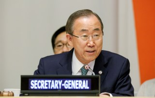 Secretary-General Ban Ki-moon addresses the International Youth Day event in 2014. UN Photo/Evan Schneider.