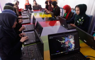 Women learning to code at a technology centre in Herat, western Afghanistan. Photo: UNAMA/Fraidoon Poya