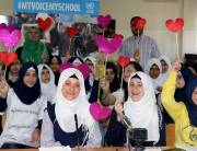 Palestine refugee students meet with children from Sweden as part of the My Voice - My School classroom initiative. © 2017 UNRWA Photo by Firas Abo Aloul