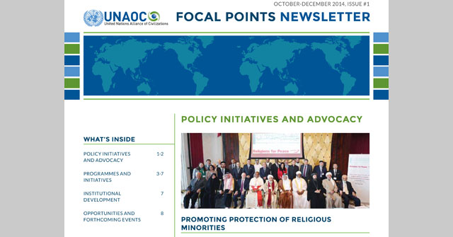 UNAOC issues the first edition of its quarterly newsletter