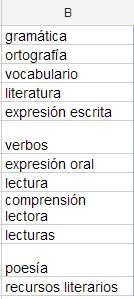 vocabulario literatura gramática ortografía