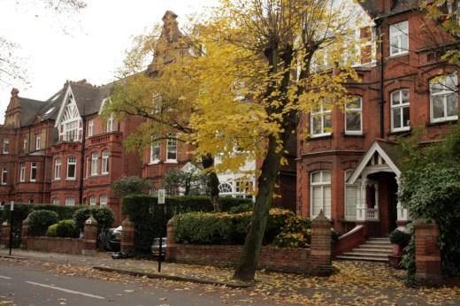 Londres en otoño Casas preciosas en Belsize Park