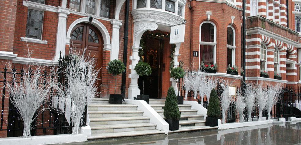 La navidad en Londres áboles blancos