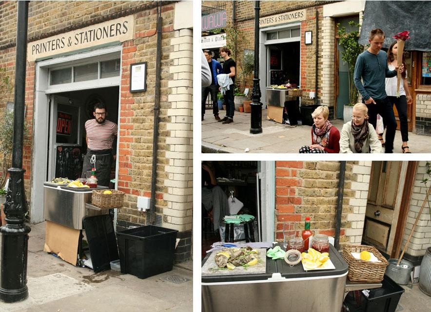 El mercado de las flores de Londres Ostras