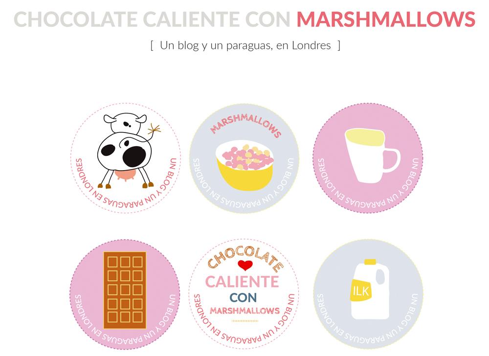 Chocolate caliente con marshmallows descargable dibujos