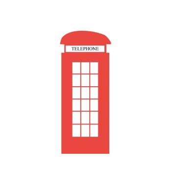 Ilustración de una de las famosas cabinas rojas de teléfonos de Londres
