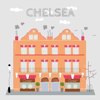 Ilustración que muestra una casa típica de este barrio de Londres tan típico