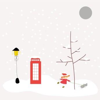 Imagen de una nevada en Londres donde se ven una farola, una cabina y una niña