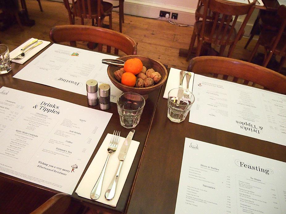 Somerset House en navidad restaurante mesas