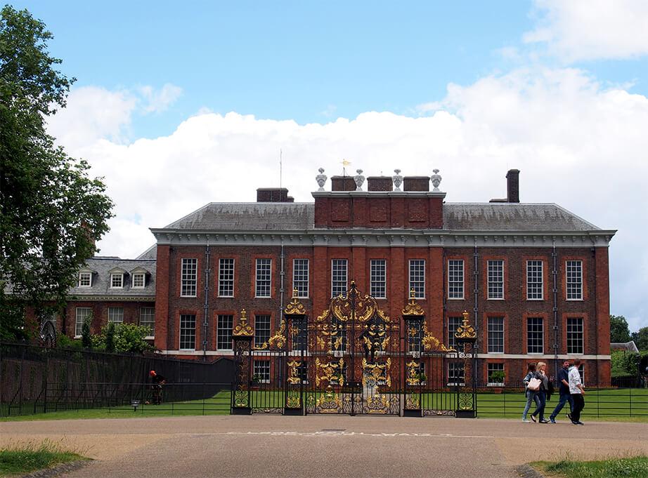 Primera vista del lateral de Kensington Palace.